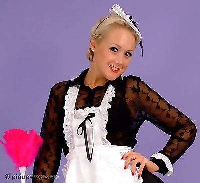 Cute blonde maid in black..