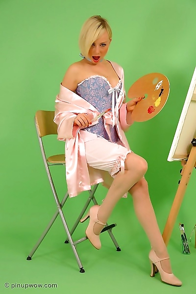 Beautiful blonde pinup painter in stockings - part 975