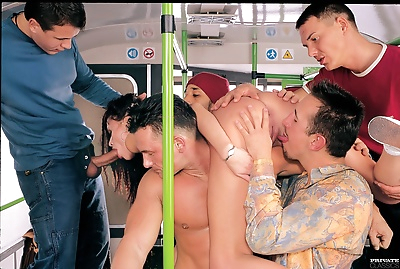 Public sex orgy in the bus..