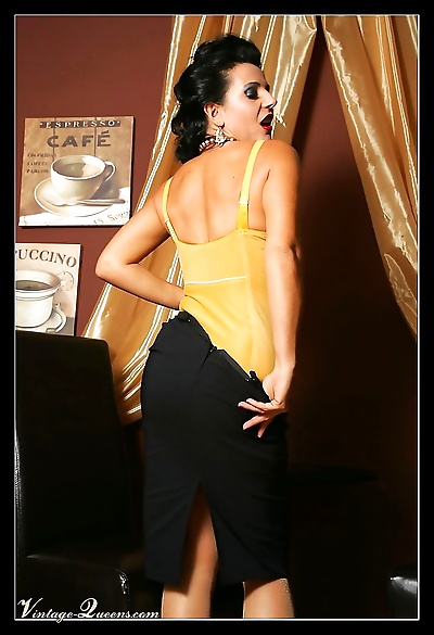 Vintage eve poses in hot yellow lingerie - part 1013